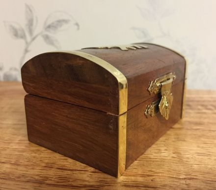 Small Wooden Chest with Gold Elephant Design
